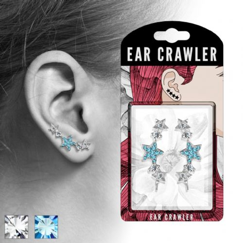 Pair of CZ Paved Star Ear Crawlers